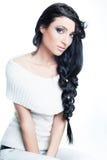 Brunette bonito con las trenzas de moda Imagen de archivo