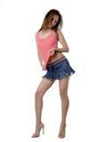 Brunette bonito en mini falda atractiva Imágenes de archivo libres de regalías
