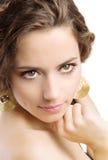 Brunette bonito isolado no branco imagem de stock royalty free