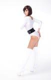 Brunette bonito no branco Fotografia de Stock Royalty Free