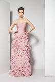 Brunette bonito novo no vestido cor-de-rosa no branco Imagem de Stock Royalty Free
