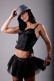Brunette bonito que desgasta um tutu preto fotografia de stock
