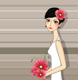 Brunette with a bouquet of poppies Royalty Free Stock Image