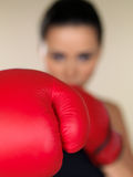 Brunette boxing girl Royalty Free Stock Images