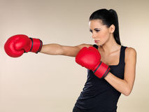 Brunette boxing girl Stock Image