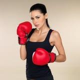 Brunette boxing girl Stock Photos
