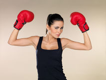 Brunette boxing girl Royalty Free Stock Photo