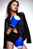 Brunette boxing woman model with bright makeup Royalty Free Stock Photos