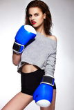 Brunette boxing woman model with bright makeup Royalty Free Stock Image