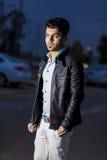 Brunette boy at night. Boy at night at sunset time in Kirkuk city Royalty Free Stock Photo