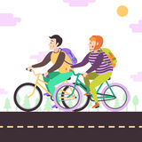 Brunette boy and red bob hair girl on bikes. Vector poster. Stock Photos