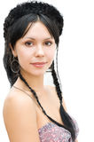 Brunette with braids crown Royalty Free Stock Images