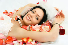 Brunette bride on the bed covered with rose leaves Stock Images