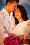 brunette bride and handsome groom Royalty Free Stock Images