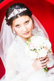Brunette bride portrait fashion with tiara and wedding bouquet.  Royalty Free Stock Photography