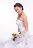 Brunette bride portrait in studio Stock Photography