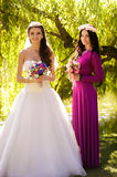 Brunette bride posing with bridesmaid in long dress posing at pa Stock Photos