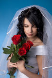 Brunette bride with red roses stock photography