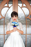 Brunette bride in white dress Royalty Free Stock Photos