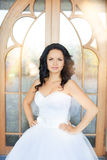Brunette bride in a white dress on the wedding day. Brunette bride in a white dress Stock Photography