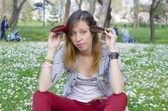 Brunette broke in spring Royalty Free Stock Images