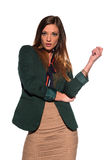 Brunette in business attire. Tall slim brunette dressed in green and tan Royalty Free Stock Image