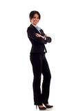 Brunette business woman. Standing, full body portrait, isolated on white Royalty Free Stock Photos