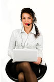 Brunette business woman with laptop Royalty Free Stock Images