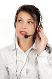 Brunette business woman operator of service Stock Photos