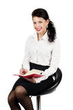 Brunette business woman with organizer isolated Stock Image