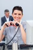 Brunette business woman on phone Royalty Free Stock Photo