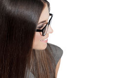 Brunette businesswoman in glasses, empty space Stock Photo