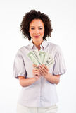 Brunette businesswoman showing dollars Royalty Free Stock Photography