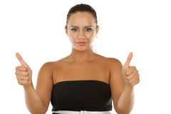 Brunette Businesswoman Shows The Sign Thumbs Up Stock Images