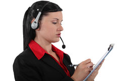 Brunette call center worker Stock Photos