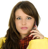 Brunette call taxi Royalty Free Stock Photos
