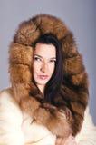Brunette in cappotto di pelliccia Fotografie Stock Libere da Diritti