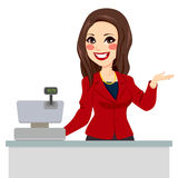 Brunette Cashier Seller Royalty Free Stock Photography