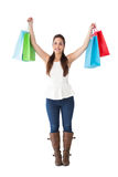 Brunette in casual clothes holding shopping bags Stock Photos