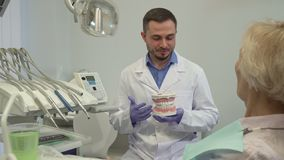 Dentist explaines something on layout of teeth to his female client. Brunette caucasian dentist explaining something on layout of teeth to his female client Stock Images