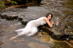 Woman lantern water Royalty Free Stock Image