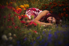 Brunette caucasian woman in white and red dress at the park in red and yellow flowers on a summer sunset dancing in the meadow. C Royalty Free Stock Photography