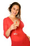 Brunette with champagne flute Royalty Free Stock Images