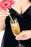 Brunette with a champagne glass. Stock Images