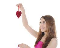 Brunette Charming con un cuore. Fotografie Stock