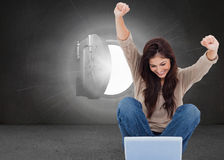 Brunette cheering while using laptop Stock Photos