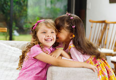 Brunette children sisters sitting happily on white Stock Photography