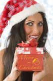 Brunette in christmas Royalty Free Stock Photo