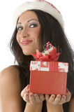 Brunette in christmas Royalty Free Stock Photos