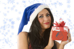 Brunette and christmas Stock Images